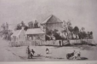Painting displayed in Geelong Art Gallery of St Andrews Manse & School at left of picture looking West in McKillop St with church building on the right.